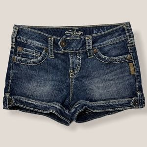 Silver Marti Denim Jeans Shorts Thick Stitching
